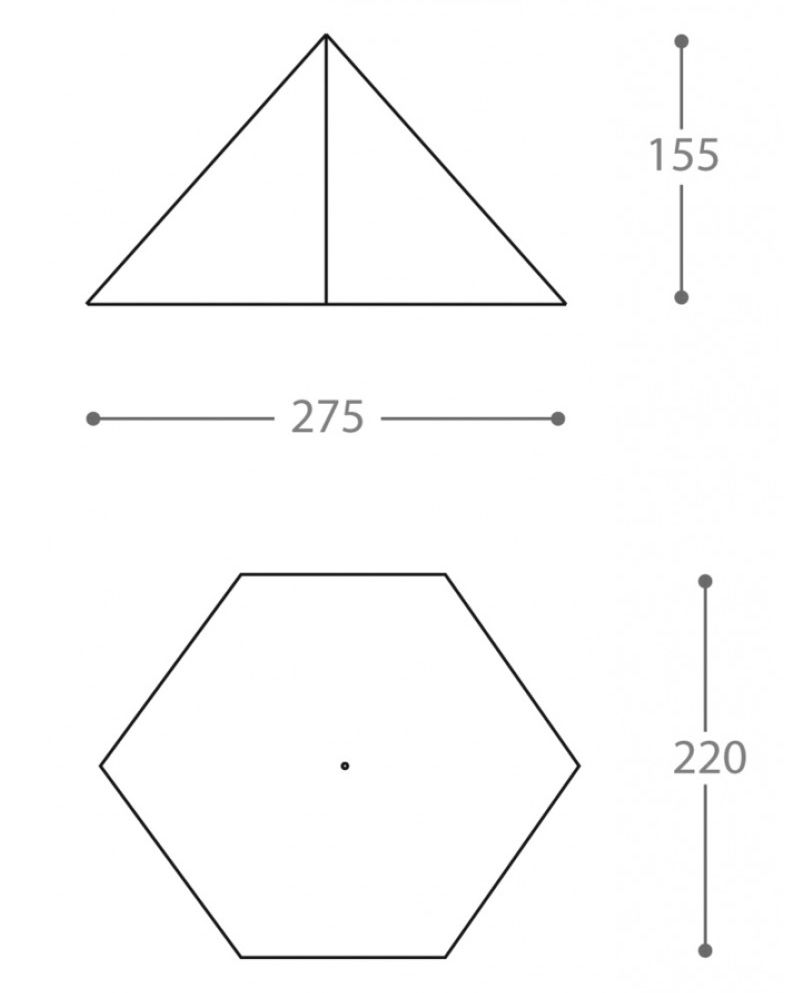 Dimensions de la tente ultra-légère Nigor WickiUp 3