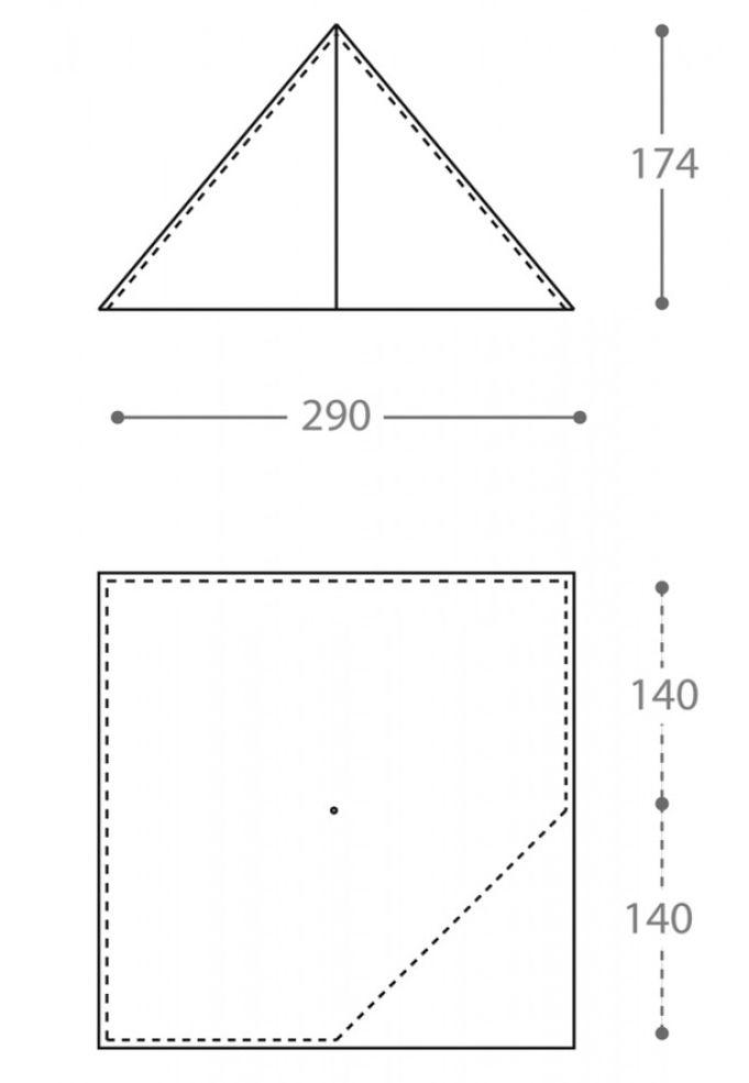 Dimensions de la tente ultra-légère Nigor WickiUp 4