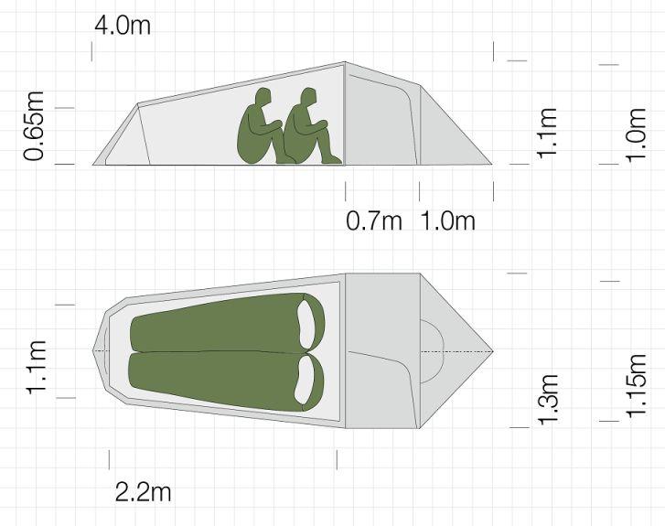 Dimensions de la tente ultra-légère Exped Cetus II UL