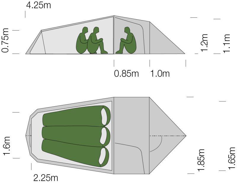 Dimensions de la tente ultra-légère Exped Cetus III UL