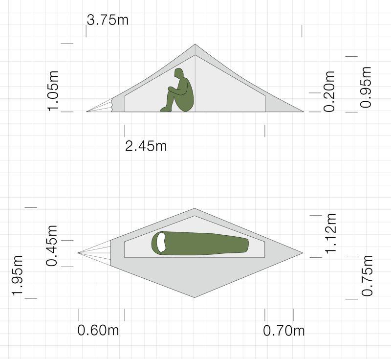Dimensions de la tente ultra-légère Exped Vela I Extreme
