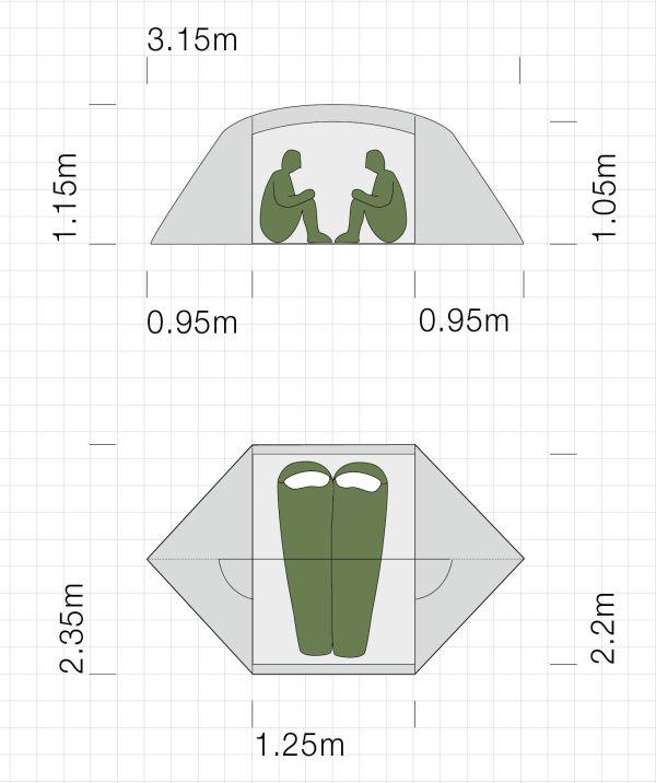 Dimensions de la tente ultra-légère Exped Venus II Extreme