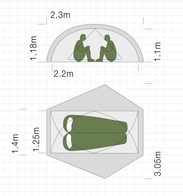 Dimensions de la tente ultra-légère Exped Gemini II