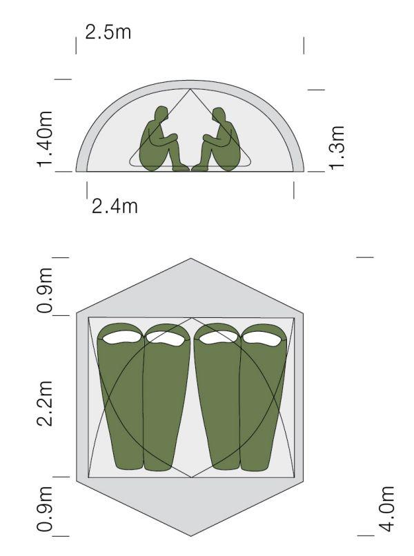 Dimensions de la tente ultra-légère Exped Gemini IV