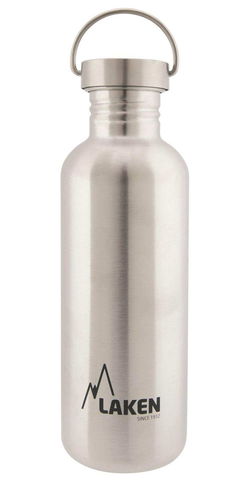 Bidon inox Laken Basic Steel 1000 ml (bouchon métal).