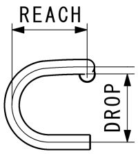 Mesure reach et drop d'un guidon de route ou course.