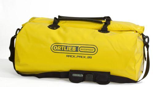 Sac étanche Ortlieb Rack-Pack de couleur jaune.