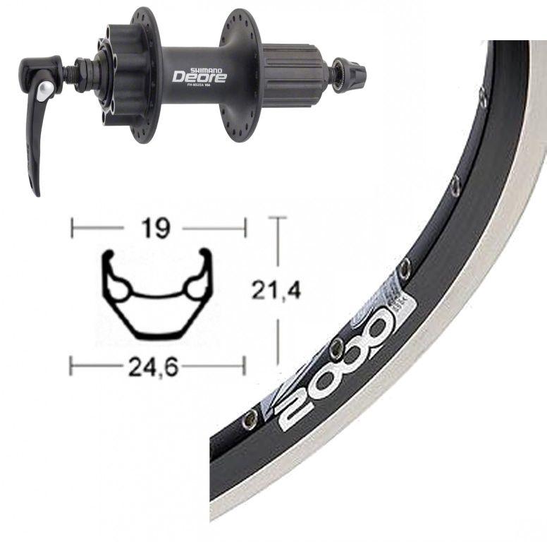Roue arrière 700 mm avec moyeu Shimano Deore pour frein à disque 6 trous