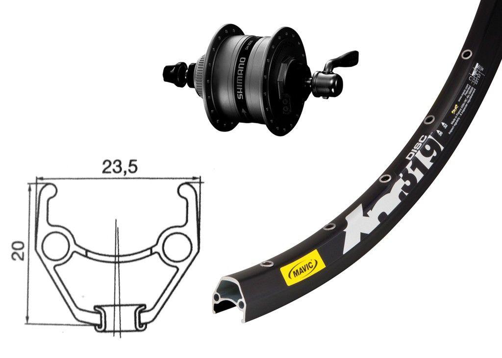 Roue avant 26 pouces avec moyeu dynamo Shimano DH-3D35 pour frein à disque centerlock et jante Mavic XM 319 Disc