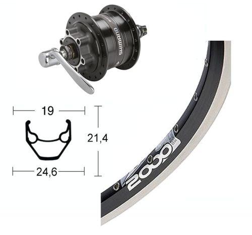 Roue avant 26 pouces avec moyeu dynamo Shimano DH-3D30 pour frein à disque 6 trous