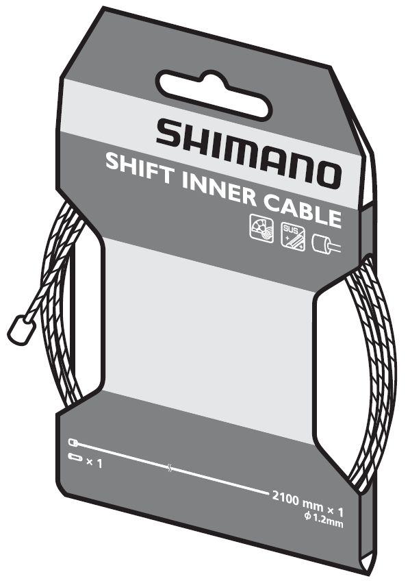 Câble de dérailleur Shimano SUS (1,2 x 2100 mm).