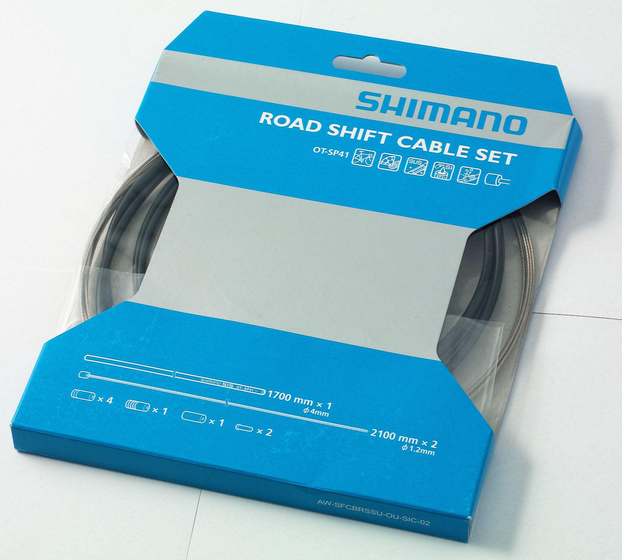 Jeu de câbles Shimano OT-SP41 pour dérailleurs de vélo de route.