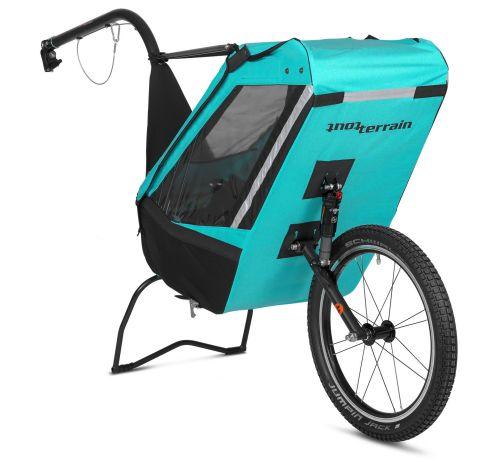 Remorque à vélo mono-roue Single Trailer, couleur bleue turquoise.