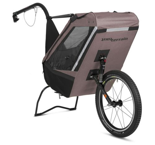Remorque à vélo mono-roue Single Trailer, couleur grise.