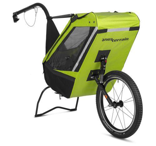 Remorque à vélo mono-roue Single Trailer, couleur verte.