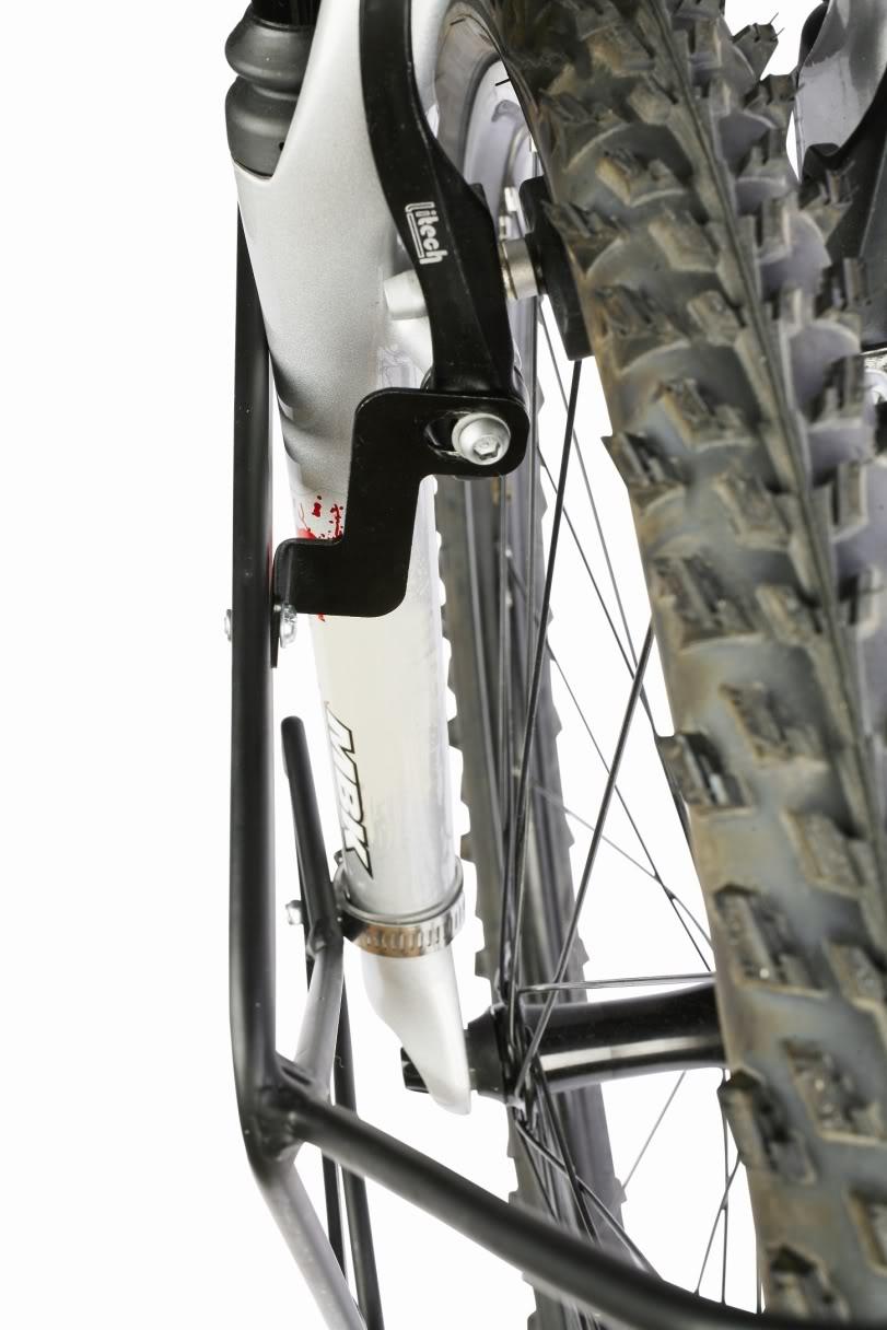 Porte-bagage avant surbaissé Zéfal pour fourche suspendue de vélo ou de VTT.