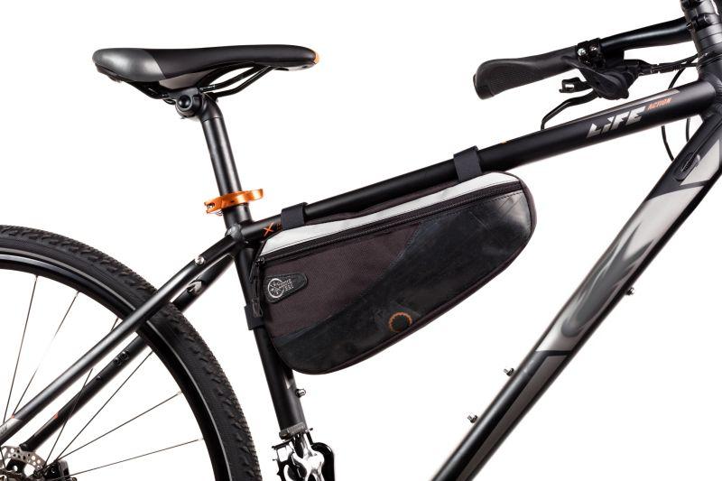 Sacoche de cadre Ziggie Bag Triangle 02 montée sur un vélo.
